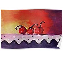 Opps only 3 cherries left, watercolor Poster