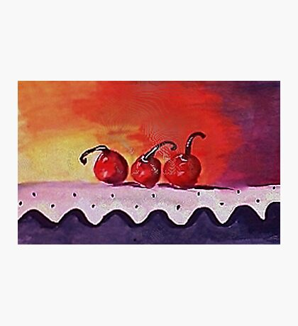 Opps only 3 cherries left, watercolor Photographic Print
