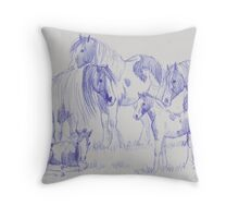 Gypsy Cob Family (for Trudi) Throw Pillow