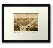 Panoramic Maps Green Bay and Fort Howard Brown Co Wisconsin 1867 Framed Print