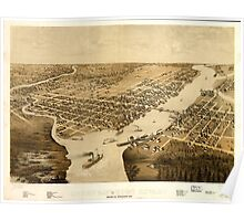 Panoramic Maps Green Bay and Fort Howard Brown Co Wisconsin 1867 Poster