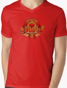 distressed Devil T-Shirt Mens V-Neck T-Shirt