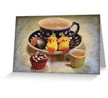 Teatime Chickies Greeting Card