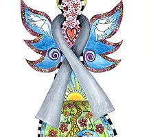 Brain Cancer Grey Ribbon Angel by Lisa Frances Judd~QuirkyHappyArt