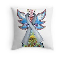 Brain Cancer Grey Ribbon Angel Throw Pillow