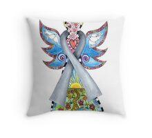 Brain Cancer Grey Ribbon Angel Throw Pillow