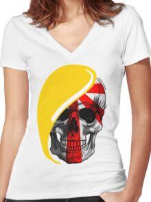 Blond Skull Women's Fitted V-Neck T-Shirt