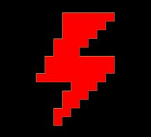 Funny 8 bit RED Lightning Bolt by coolvintage