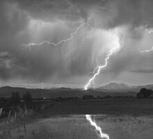 Lightning Striking Longs Peak Foothills  3BW by Bo Insogna