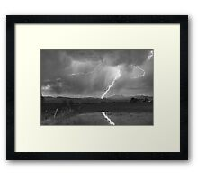 Lightning Striking Longs Peak Foothills  3BW Framed Print
