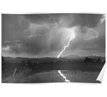 Lightning Striking Longs Peak Foothills  3BW Poster