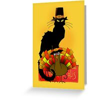 Thanksgiving Le Chat Noir With Turkey Pilgrim Greeting Card