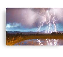 Lightning Striking Longs Peak Foothills 4 Canvas Print