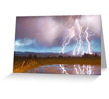 Lightning Striking Longs Peak Foothills 4 Greeting Card