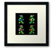 8 bit Funny Turtles Framed Print