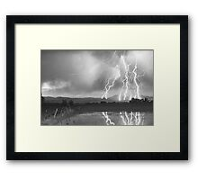 Lightning Striking Longs Peak Foothills 4BW Framed Print
