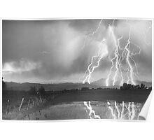 Lightning Striking Longs Peak Foothills 4BW Poster