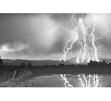 Lightning Striking Longs Peak Foothills 4BW Photographic Print