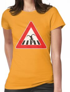 Caution - Necromorph Crossing Womens Fitted T-Shirt