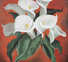 Calla Lilies On A Red Background by taiche