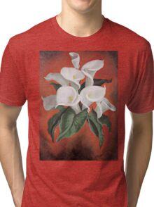 Calla Lilies On A Red Background Tri-blend T-Shirt