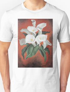 Calla Lilies On A Red Background T-Shirt