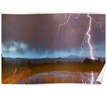Lightning Striking Longs Peak Foothills 5 Poster