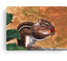 Furry Little Strawberry Thief Canvas Print