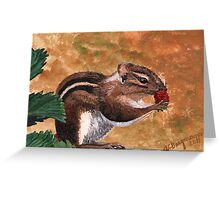 Furry Little Strawberry Thief Greeting Card