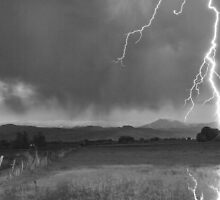 Lightning Striking Longs Peak Foothills 5BW by Bo Insogna