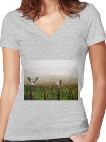 Where are the grapes? Women's Fitted V-Neck T-Shirt
