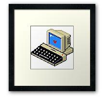 8 BIT Computer - Love Heart Framed Print