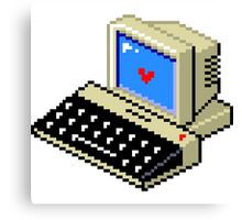 8 BIT Computer - Love Heart Canvas Print