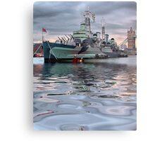 HMS Belfast At Twlight Metal Print