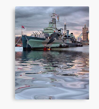 HMS Belfast At Twlight Canvas Print
