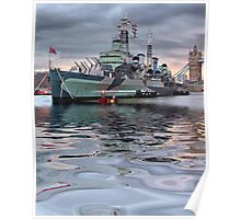 HMS Belfast At Twlight Poster