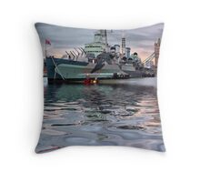 HMS Belfast At Twlight Throw Pillow