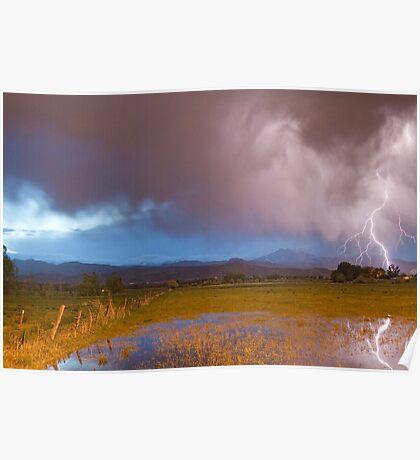 Lightning Striking Longs Peak Foothills 7 Poster
