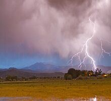 Lightning Striking Longs Peak Foothills 7C by Bo Insogna