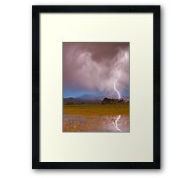 Lightning Striking Longs Peak Foothills 7C Framed Print