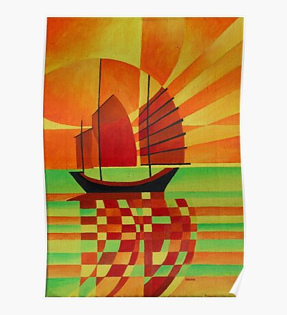 Junk on Sea of Green Cubist Abstract Poster