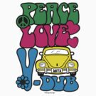 PEACE LOVE V-DUB - BEETLE by Hendrie Schipper