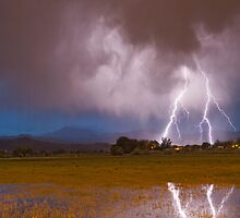 Lightning Striking Longs Peak Foothills 8C by Bo Insogna
