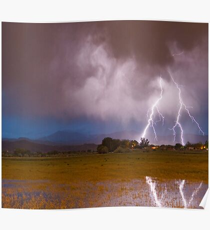 Lightning Striking Longs Peak Foothills 8C Poster