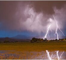 Lightning Striking Longs Peak Foothills 8C Photographic Print
