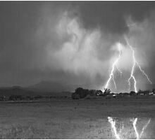 Lightning Striking Longs Peak Foothills 8CBW Photographic Print