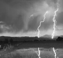 Lightning Striking Longs Peak Foothills 8BW by Bo Insogna
