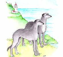 Scottish Deerhounds at The Ocean  by judzart