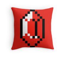 Red Pixel Rupee - The Legend of Zelda Throw Pillow