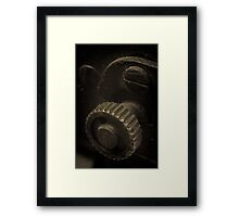 Lens Reversal of old camera part sepia toned 1 Framed Print
